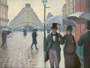 Details Gustave Caillebotte. Paris Street, Rainy Day, 1877. Art Institute of Chicago Gustave Caillebotte • Public domain