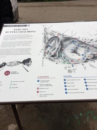 Map of the massive Parc des Buttes Chaumont